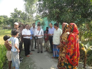 Tolli Love, Vice President of CARE-USA visited JSKS SHOUHARDO II PROGRAM at Dimla Upazila under Nilphamari District. The villagers are welcoming her in their village